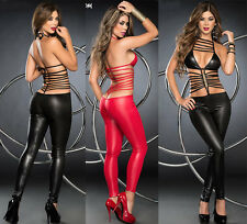 Sexy Lingerie Catwoman False Leather Fetish Jumpsuit Catsuit Fancy Dress 403