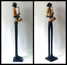 "Antique Art Resin Hand Painted Saxophone Player Sculpture/Figurine 23"" Tall"