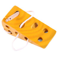 Kids Wooden Educational Toys Cheese Puzzle Lacing Game for Baby Toddlers