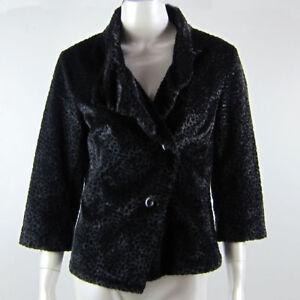 Short Sleeved Warm Fluffy Vest Button Up Jacket Black Formal Leopard Size 8