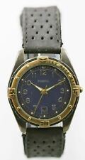 Fossil Watch Men Date Stainless Antiqued Gold Gray Leather Black 30m Blue Quartz