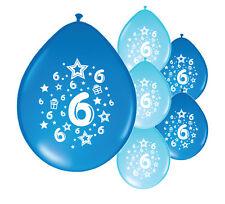 "10 X 6th BIRTHDAY BOY BALLOONS ""6 TODAY"" BIRTHDAY BALLOONS MIX BLUE (PA)"
