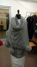 SILVER GREY LIGHT FOX FULL SKIN TRIMMED 100% CASHMERE SWING CAPE WRAP COAT