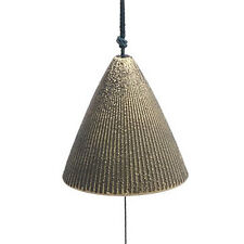 Japanese Furin Wind Chime Nambu Cast Iron Iwachu Gold Ribbed Cone, Made in Japan