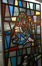 Stained Glass Door Panel Jesus/Mary& Nun WChildren