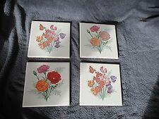4 anciens carreaux-céramique peinte émaillée-fleurs des champs-oeuillets-1950-60