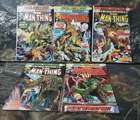 Vtg 1974 Man-Thing Comics Lot #'s 9 10 11 12 13 3 Ploog Covers Marvel Swamp