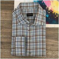 NWT - ERMENEGILDO ZEGNA Casual Dress Shirt Mens Size XL Cotton Long Sleeve Plaid