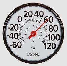 "New! #6700 TAYLOR Large 13.5"" EASY TO READ In/Outdoor Black Dial Thermometer F/C"