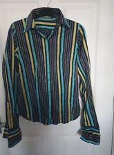 T M LEWIN Mujer Camisa Blusa Reino Unido 8 Multi De Rayas De Colores 100% algodón con cuello inteligente