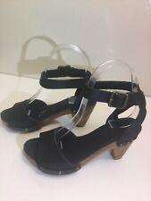 Scom. Clogs Wooden Platform Heel Sandals Black Leather Women's Size 5