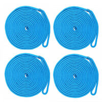 4 PCS of Blue 1/2 Inch 20 FT Double Braid Nylon Dock Line Mooring Rope Boat Rope
