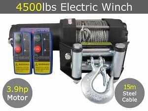 12V 4500lbs 4500lb Electric Winch Steel Cable 15m Quad Boat Trailer ATV Car