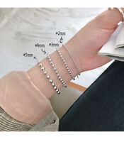 NEW Classic Genuine s925 Sterling Silver Lucky Bead Ball Chain Bracelet Bangle