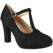 Womens T-Bar Court Plarform Shoes Ladies Faux Suede Party Buckle High Heel Size