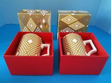 Rosanna 2013 12oz Coffee Cup 2 Pieces #011030467 Starbucks Gold & White NIB
