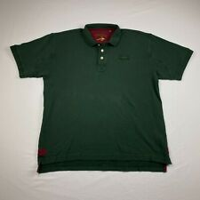Orvis Cotton Signature Polo L Green Burgundy Outdoors Fisherman Rugby Mens A1