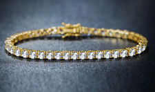 Iced Yellow Gold Solitaire Lab Simulated Diamond Bling Hip Hop Tennis Bracelet