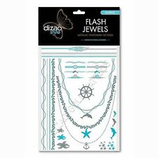 Natural Temporary Tattoos Dizao Style Flash Jewels Silver Metallic Marine