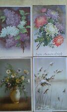 4 alte Postkarten, Blumenmotiv, Natur