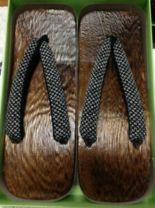 "Japanese Men's Wooden Geta Sandals 11.25"" Samurai Yukata Kimono Shoes Shibori"