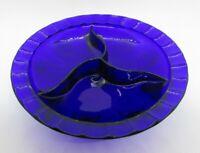 """Vintage COBALT GLASS Divided Footed Relish Bowl 8.25"""""""