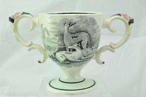 19th Century Antique Spode Bat Printed Pearlware Bacchus Head Loving Cup 1805