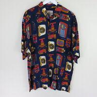 Pineapple Moon Vintage Blue Tiki Hawaiian Shirt - Men's XL