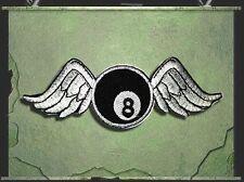 Aufnäher Aufbügler Patch 8 Ball mit Flügel Rockabilly  Casino