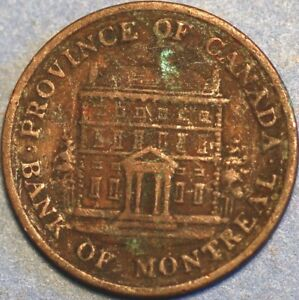 1/2 Penny 1844 Token Bank of Montreal Canada P251