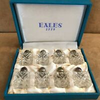 Eales 1779 Vintage 8 Silverplate Glass Salt and Pepper Shakers set storage box