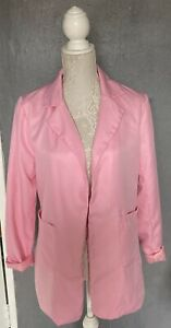 Ladies Candy Pink Collared Jacket With Roll Up Sleeves Worn Once lined Size 12