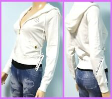 BEBE Swarovski Crystal Logo White Hoodie Jacket w/ 2 Front Pockets, SMALL (2898)