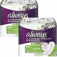 Always Discreet Sensitive Bladder Incontinence Pads Liners Small Plus - 32 Pack