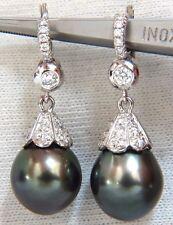 $6000 12.50mm NATURAL TAHITIAN PEACOCK PEARLS DANGLE DIAMOND EARRINGS 14KT