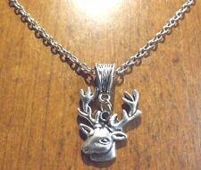 collier chaine argenté 46 cm avec pendentif cerf 25x23 mm