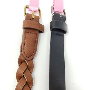 Lot of 2 Girls Belts Brown Braided Black Studs Small Medium New