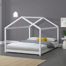 [en.casa] Kinderbett 120x200cm Haus Holz Weiß Bettenhaus Hausbett Kinder Bett