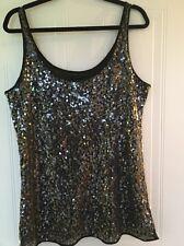 Guess Ladies Designer Sequinned Vest Top L UK 12