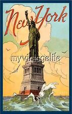 Statue of  Liberty New York Patriotic 4th of July Quilting Fabric Block 5x7 NY