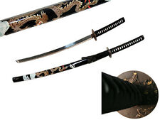 40.5 Inch Samurai Sword Steel Blade Ninja Carbon Dragon Wood Sheat Full Tang