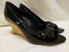 Franco Sarto Black Patent Leather Peep Toe Basket Weave Wedge Heels Womens 6.5M