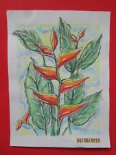 Tropical Floral Still life, 'Heliconia' Watercolor original
