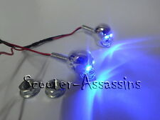 CHROME SKULL BLUE LED lamps/lights Number/Licence plate bolts (pair)