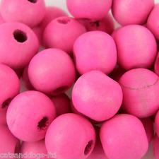 * 500 * Rosa Brillante artesanales de madera redondas de 10 Mm De Joyería De Perlas w301