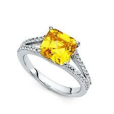 14k White Gold Yellow Solitaire Cz Engagement Ring Anniversary Asscher Cz Band