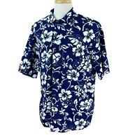 Hilo Hattie Men's Hawaiian Original Short Sleeve Navy Blue Floral Camp Shirt XL