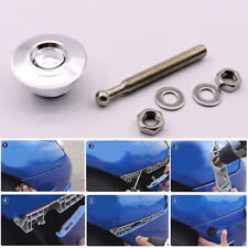Silver Quick Release Car Push Button Hood Pin Lock Low Profile Click Latch Clip