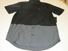Hurley S sm Quick Strike SS Mens surf skate button up shirt 00A black grey NEW