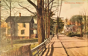 1911 VIEW OF WEST BROADWAY, ROSLYN, LONG ISLAND, NY- COLORED POSTCARD